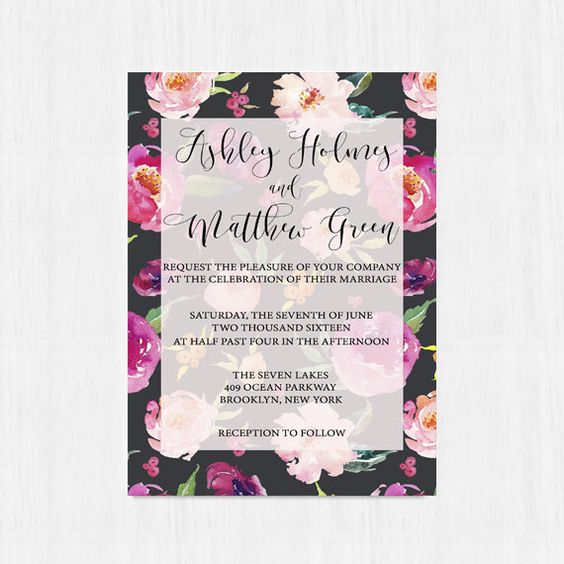 Printable invitation Elegant invitation Wedding by instanttrends