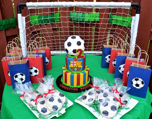 Barca / Barcelona FCB Soccer Cake and Cookies By Simply Sweet Creations (www.simplysweetonline.com):