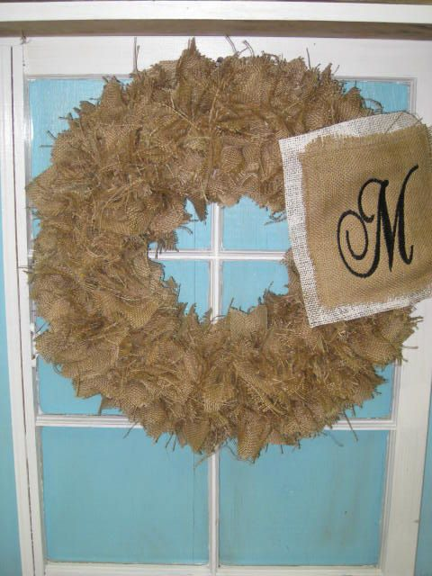 Burlap Monogram Initial Wreath by Burlapulous on Etsy, $45.00