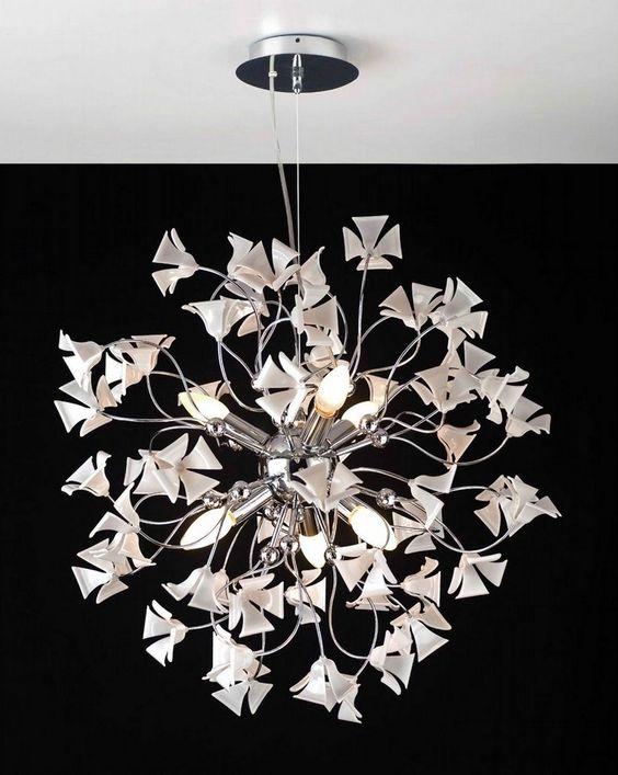 bianchi lampadari : un lampadario ispirato alla natura illuminato da lampade led a candela