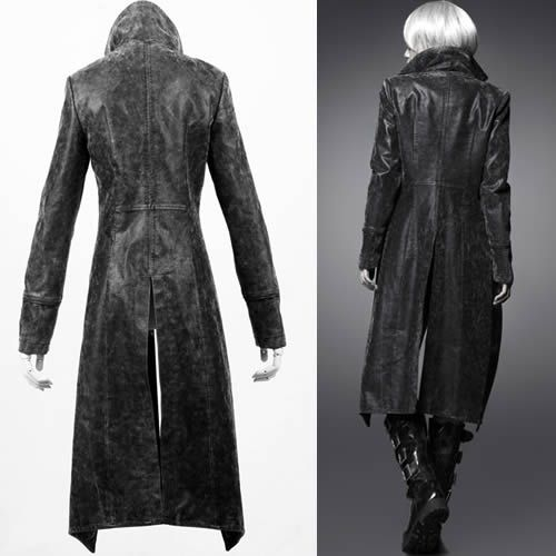 Cool Women Black Leather Military Goth Style Long Jacket Trench