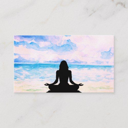 Sea Ocean Yoga Beach Mindfulness Meditation Business Card Zazzle Com Mindfulness Meditation Meditation Sunrise Painting