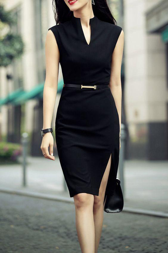 Zenpp Black Slit Sheath Dress | Knee Length Dresses at DEZZAL