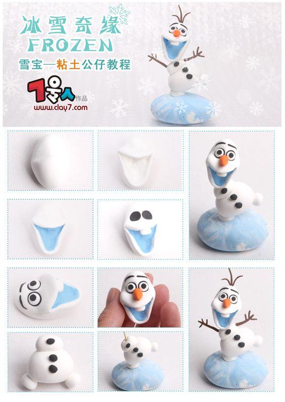 Modelage d'Olaf en fimo