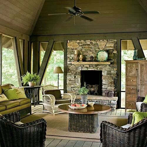 Pinterest the world s catalog of ideas Screened in porch with fireplace
