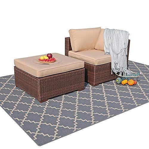 Weather Wicker Patio Sectional Sofa Set, Outdoor Patio Set With Ottomans