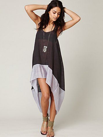 Sheer colorblocked tank dress with billowing high-low hemline. Charcoal.