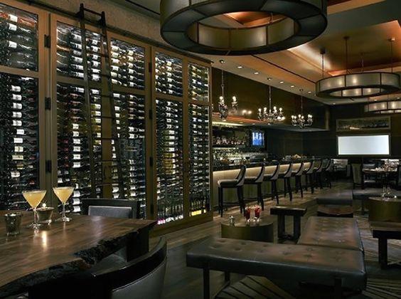 Wine rack hospitality furniture design of nios restaurant for Modern wine bar design