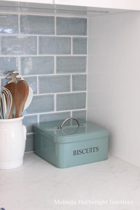 blue subway tile splash back, range good, marble bench top,  - Melinda Hartwright Interiors