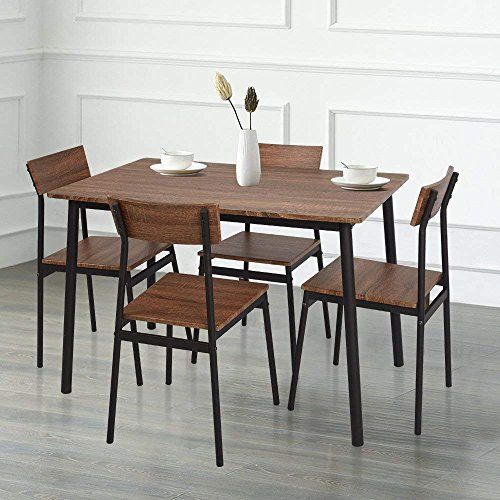 Karmas Product 5 Piece Wood Dining Table Set Home Kitchen Table