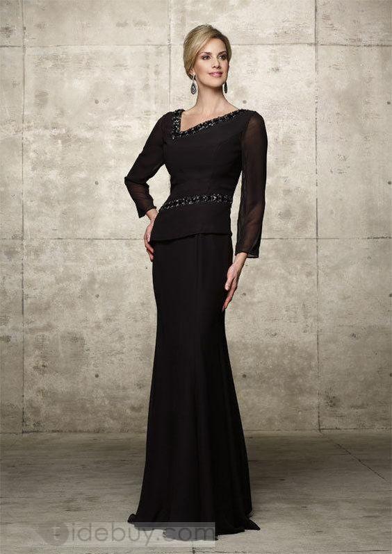 Graceful Beaded Sheath Floor-Length Long-Sleeves Mother of the Bride Dress