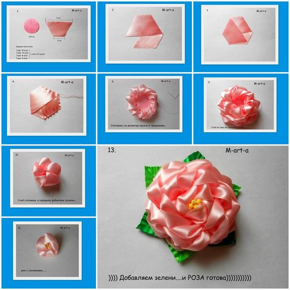 How to make rose flowers from voile ribbon diy tutorial for Flower making ideas step by step
