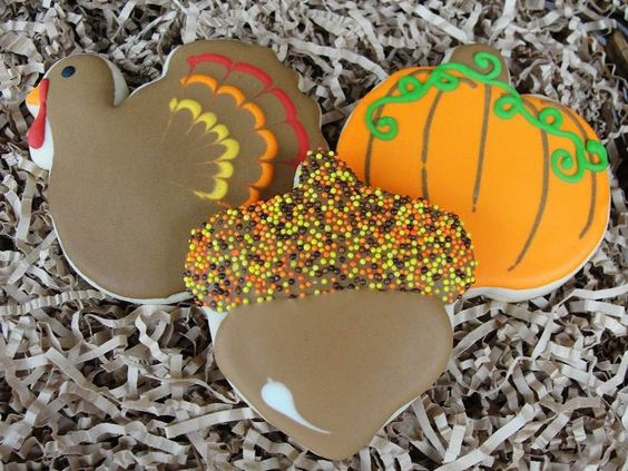 Thanksgiving Trio Hand Decorated Sugar Cookies. $27.00, via Etsy.