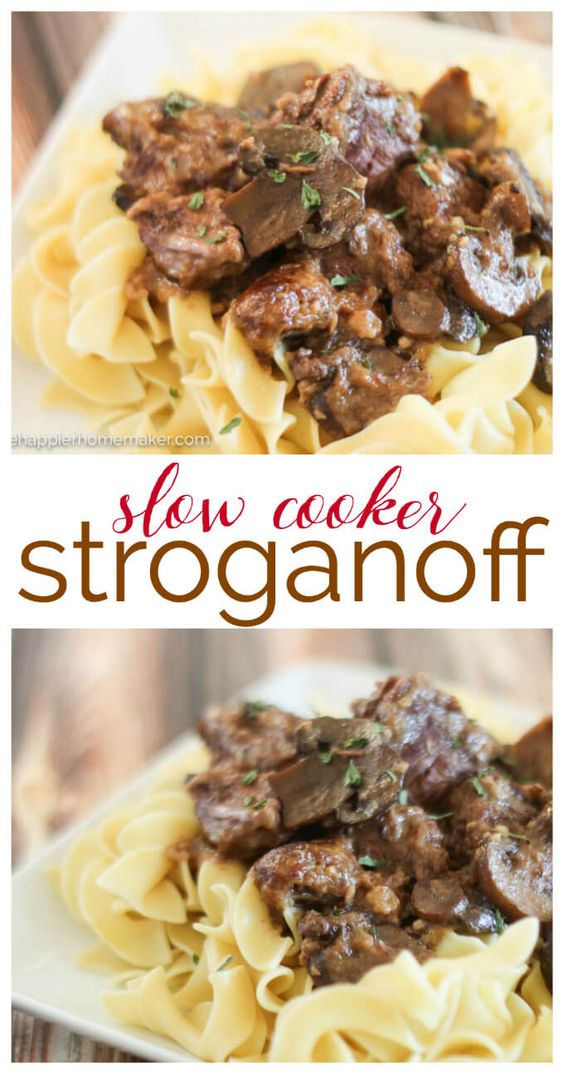 Delicious Slow Cooker Stroganof recipe is the perfect easy comfort food recipe-great for weeknight dinners!