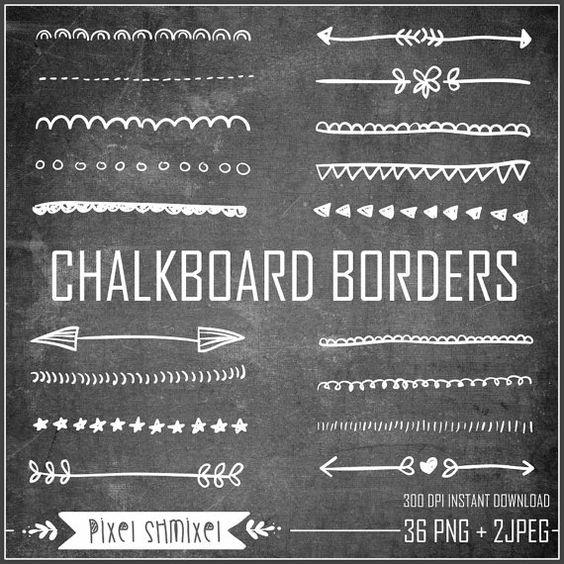 Chalkboard Borders Clipart, Hand Drawn Border, Doodle Border Clipart, Digital  Wedding Border, Black & White Chalkboard Backgrounds
