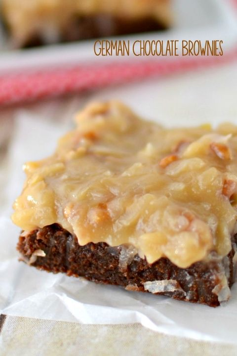 These is the BEST German Chocolate Brownie recipe ever! Fudgy and chocolatey brownies topped with a rich coconut pecan frosting - these are AMAZING!