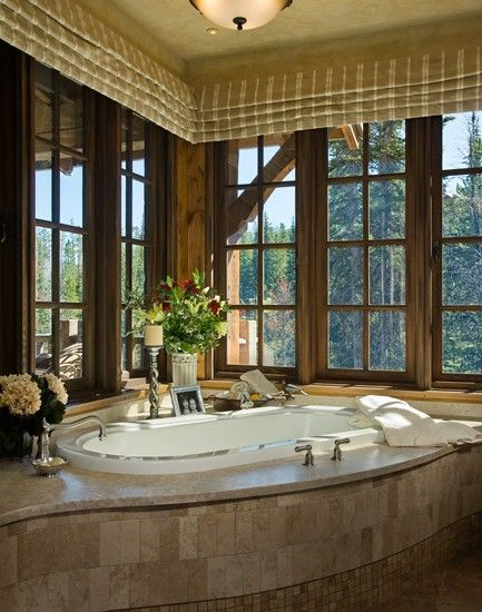 Rustic master bathroom master bathrooms and bathroom for Master bathroom with corner tub