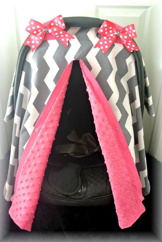 minky carseat canopy car seat cover gray pink white chevron grey polka dots bows baby. Black Bedroom Furniture Sets. Home Design Ideas