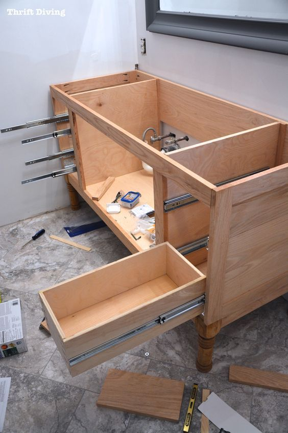 Pin On Diy, How To Build A Bathroom Cabinet With Drawers