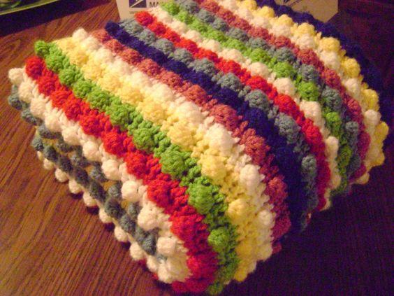 Blackberry Salad stripe afghan