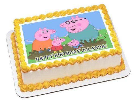 Peppa Pig 2 Edible Birthday Cake Topper OR Cupcake Topper, Decor