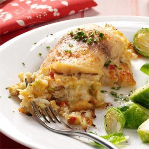 Crab Stuffed Tilapia:This delish and easy recipe is in the oven now! I didn't have celery so I tossed some green peppers instead. I also used Low Fat Mayonaise and Panko Bread Crumbs. I did not have lump crab so I used imitation crab. Absolutely delicious and easy!