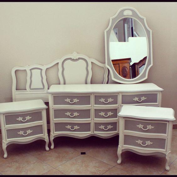 Grey Vintage Bedroom: White And Grey Dresser