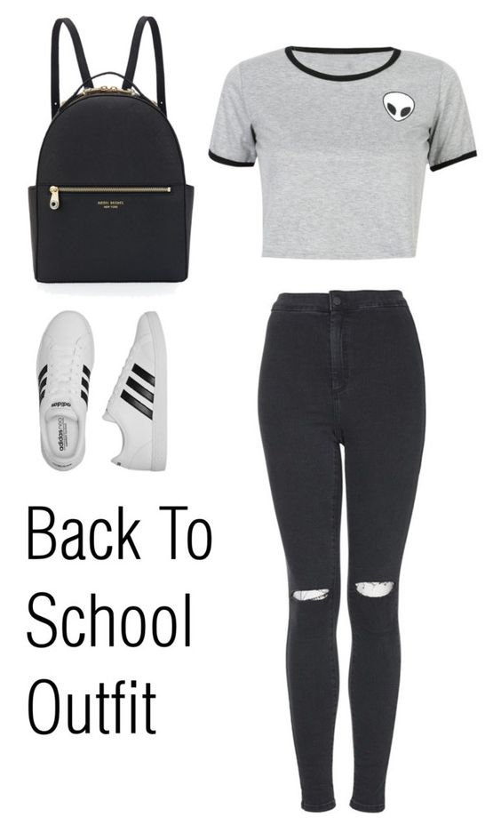 """""""Back To School Outfit"""" by rociorocx ❤ liked on Polyvore featuring WithChic, adidas, Henri Bendel, Topshop, BackToSchool, rippedjeans and polyvorecommunity"""