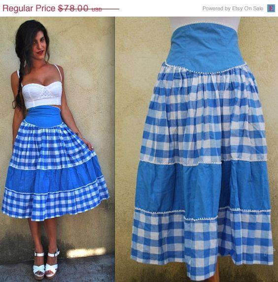 FLASH vente 20 % OFF Vintage 50 s 60 s bleu et blanc Vichy Square Dancing jupe (taille xs, petit)