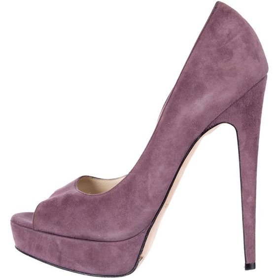 Pre-owned Brian Atwood Suede Peep-Toe Pumps ($95) ❤ liked on Polyvore featuring shoes, pumps, purple, suede platform pumps, purple platform shoes, suede pumps, peep toe shoes and purple shoes