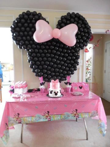 Minnie mouse balloon decorations minnie mouse party for Balloon decoration minnie mouse