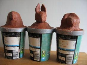 canopic jars from upcycled containers with kid-sculpted heads--paint the outsides and write hieroglyphics on, then place cut out and colored organs inside