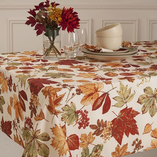 Autumn Tablecloth Fall Table Covering Scattered Leaves Micro Fiber Linen Holiday