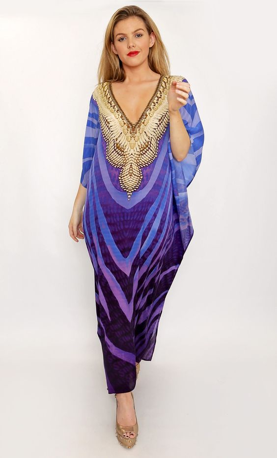 The Fabulous Luz Maxi Swarovski Silk Maxi Kaftan designed exclusively by Gail Conder for Kitten Beachwear is perfect to adorn you at any Ibiza or Marbella Beach Club