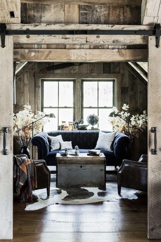 rusticy: Living Rooms, Barn Doors, Dream House, Livingroom, Blue Sofa, Rustic Living, House Idea