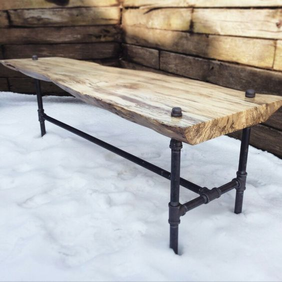 Legs For Live Edge Coffee Table: Live Edge Spalted Oak Coffee Table With Industrial 3 Leg