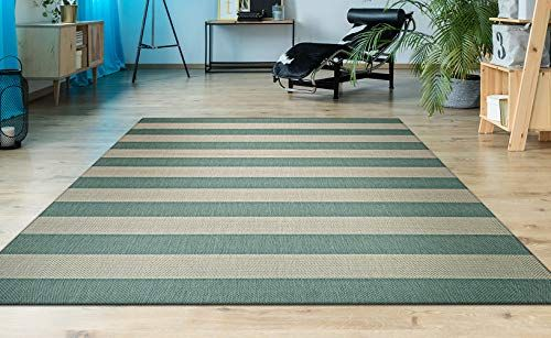 Couristan Afuera Yacht Club Rug 9 Feet 2 Inch By 12 Feet 9 Inch Sea Mist Ivory In 2020 Teal Area Rug Couristan Area Rugs