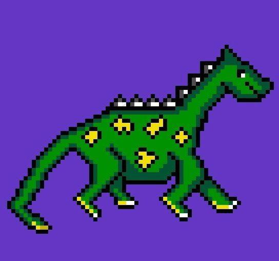 By chazefuckyeah: #dinosaur #8Bits #pixelart #8bits #microhobbit
