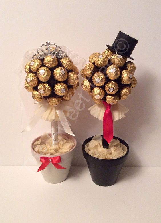 Wedding bride and groom ferrero Rocher chocolate sweet trees www.sweettreesessex.com: