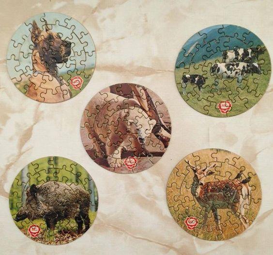 Puzzles que venían en las tarrinas de que sitos El Caserío. Como me engancharon con los puzzles: