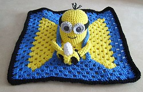 Knitting Pattern For Minion Blanket : Minion Inspired Lovey Blankie pattern by Knotty Hooker Designs Design, Rave...