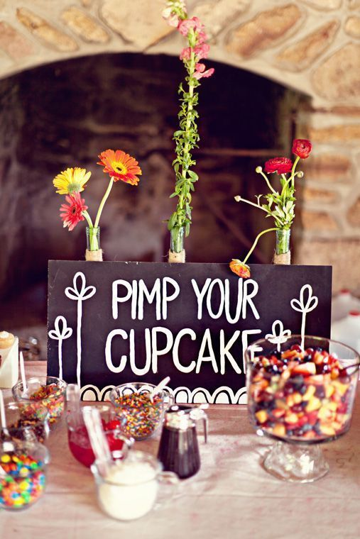 How awesome is this cupcake candy bar?! Affordable ideas like this are sure to impress your wedding guests!