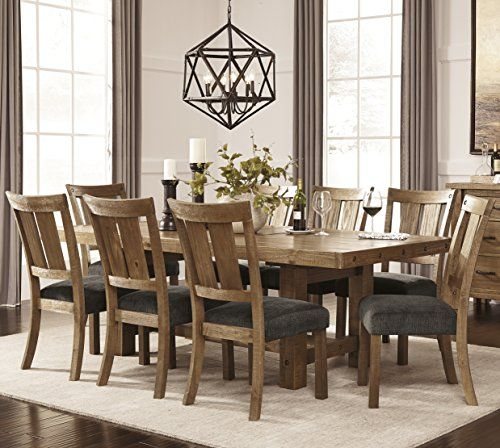 Tarmilr Casual Brown Color Rectangular Dining Room Set Table 8