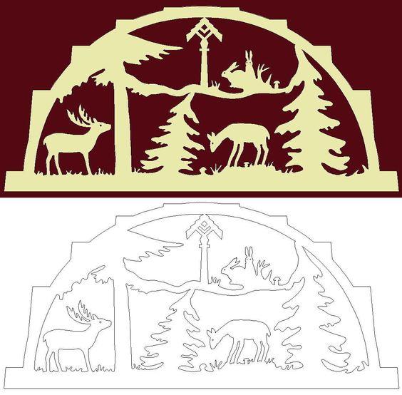 Schwibbogen-Vorlage: Tiere mit Futterstelle im Forst
