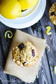 Lemon Blackberry Muffins- Gluten free, Vegan, PetiteAllergyTreats  The best gluten free muffin EVER! #glutenfree, #dairyfree, #eggfree, #lemon, #blackberry
