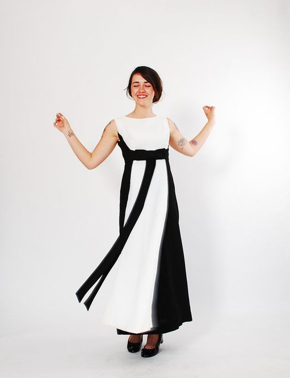 Long 60s dress 1960s dress black and white gown dresses black