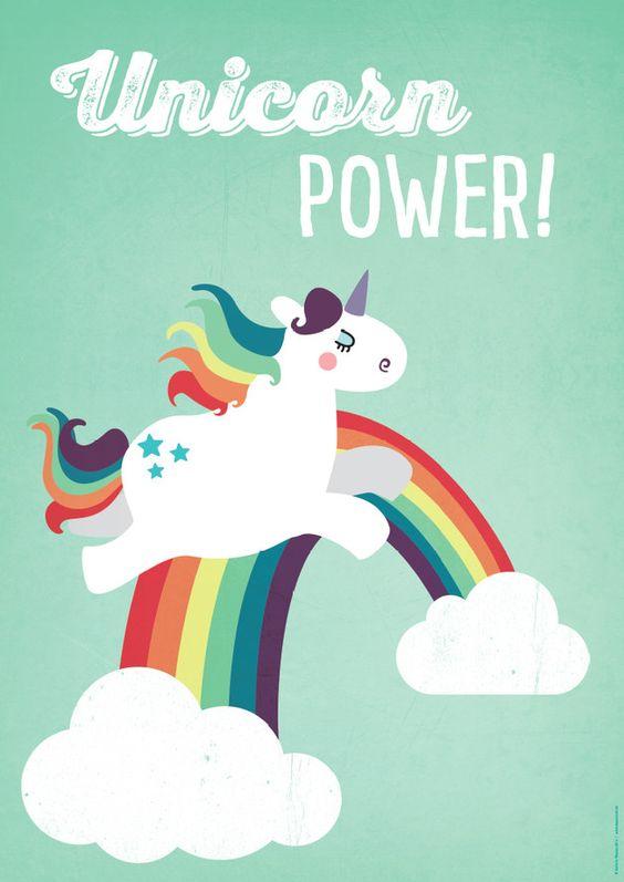 """Digitaldruck - A2 Einhorn-Poster """"Unicorn Power"""" Kin... - ein Designerstück von kaeselotti bei DaWanda:"""