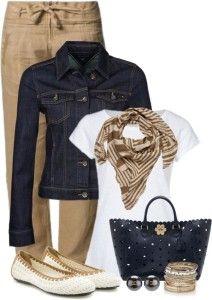 Khaki pants, denim jacket, white tshirt, tan scarf