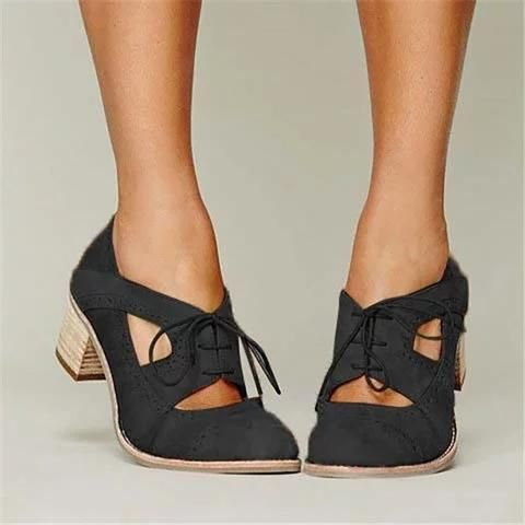 Cutout Lace-up Low Heel Oxford Shoes