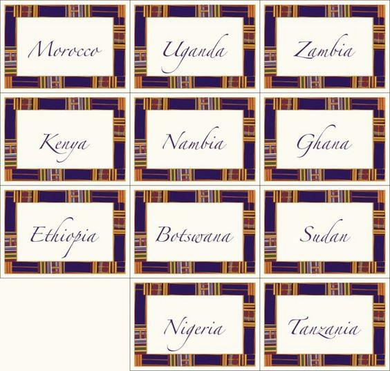 DIY table names to honor my husbands homeland.